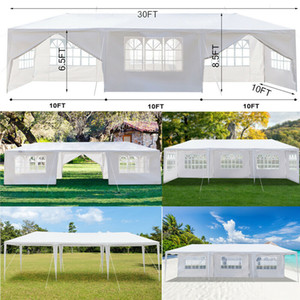 30FT X 10FT White Wedding Party Big Tent with 8 Sides ( 6 Windows + 2 Doors )