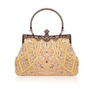 Luxury Beaded Women Evening Bag Fashion Design Pearl Ladies Evening Bag Clutch Wedding Party Bridal Women Shoulder Bag Handbag