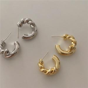 Corée du rétro métal en forme de C Twisted Boucles d'oreilles Twist Or Argent Couleur pour les femmes bijoux à la mode Halloween Party gros