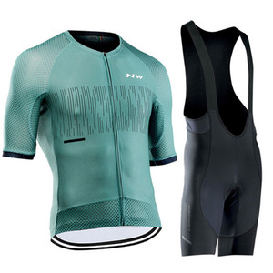 NW 2020 New Cycling Jersey Set Summer Short Sleeve Bicycle Clothing Kit MTB Bike Jersey Men Bib Gel Shorts Suit Ropa Ciclismo