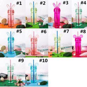 Vasos de oreja de conejo colorido transparente oreja del ratón botella de agua con paja y tapa de la taza de café Taza Milke regalo de las muchachas DHE1469