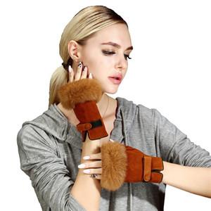 Fashion Hair Winter Lambskin Fingerless Gloves Wrist Solid Women Real sheep Genuine Leather Female Driving Glove