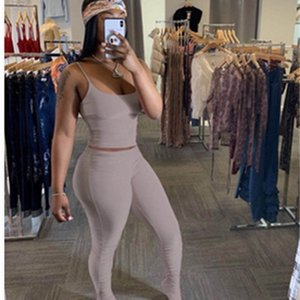 2 Piece Set Women Summer Clother Elastic Crop Top and Stacked Legging Pant Suit Sexy Club Outfits Two Piece Matching Sets X0923