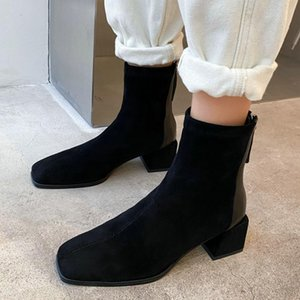 Women Square Toe Mid Heels Ankle Boots Chunky Heels Zip Fall Spring Fashion Sewing Dress Black White Booties