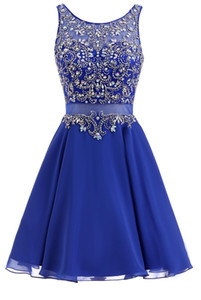 Short Cocktail Dress Crystal Rhinestone Beaded 8th Grade Graduation Prom Gowns Homecoming Dresses Junior Sweet 16 Birthday Party Dress