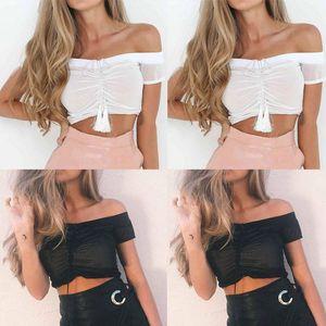 Summer Women Ladies Clothing Tops Casual Halter Tops Vest Short Sleeve Cotton Crop Shirt Clothes Women