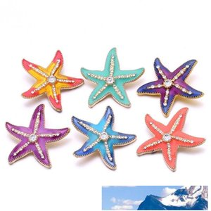 Noosa Rhinestone Enamel 3D Starfish 18mm Ginger Snap Jewelry Gold Plated Snap DIY Necklace Bracelet Accessory New Finding