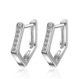 RONERAI nuevo encanto de 925 plata de ley pendientes del aro de la moda de joyería de cristal caliente pendiente geométrica Mujer compromiso Accesorios