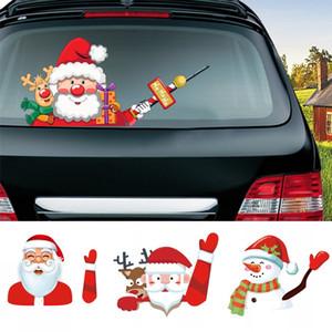 Carro do Natal Adesivos de ondulação de Natal mágico Papai Noel Elk Xmas novidade etiqueta do carro do pára-brisas Limpa-vidros traseiro Adesivos DHE1081