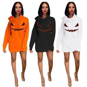 Womens Designer Halloween Hoodies Langarm-Kürbis mit Kapuze Kragen Damen Sweatshirts Fashion Herbst-Winter-lose Frau Kleidung
