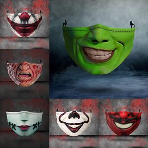 Хэллоуин Дизайнер лица Маски многоразовые 3D Череп Тыква Grimace Cotton Face Mask Дизайнерские маски многоразовые РМ2,5 Carbon Washable для взрослых
