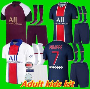 MEN KIDS عدة Maillots دي لكرة القدم قميص باريس سان جيرمانجيرسي الثالثة لكرة القدم جيرسي 20 21 MBAPPE ICARDI ماركينيوس 2020 الرجال الاطفال camisetas دي فوتبول