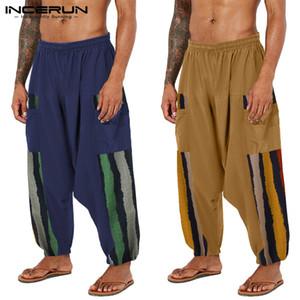 Pantalon en vrac Baggy Jogger INCERUN hommes imprimé ethnique Pantalons Pantalon entrejambe Vintage Coton Harem Yoga Patchwork Danse Pantalon7