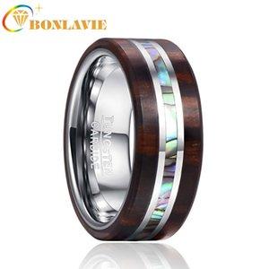 BONLAVIE Мужские кольца Имя Нанесите гравировку 8мм Ebony Wood Grain Natural Abalone Shell стали вольфрама кольцо обручальное кольцо Boyfriend Подарок