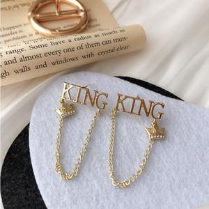 2020 new listing S925 silver needle alphabet crown earring temperament wild Korean net red chain earrings earrings female