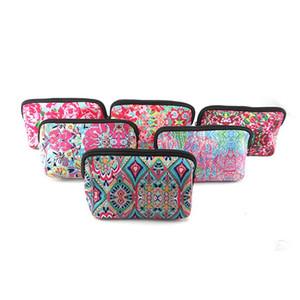 Neoprene euramerican cosmetic bag flower storage bags rose baseball bag fashion zero purse plaid cloth bags Make Up Bag For Women LXL414