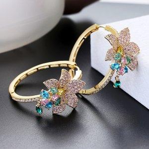 여성 지르콘 라운드 후프 귀걸이 골드 도금 XIUMEIYIZU 새로운 패션 쥬얼리 수출 브라질 200924위한 럭셔리 꽃 귀걸이