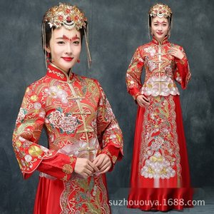 Xiuhe robe de mariée mariage rouge été vêtements toast chinois cheongsam xiuhefu Dragon robe robe formelle phénix dressand robe Y0U6o