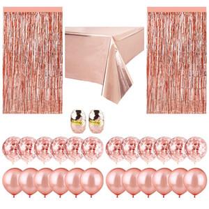 Die heiße Verkauf Roségold Papierballon Anzug Geburtstagsparty Hochzeit Zubehör dekorative regen Vorhang Tischfahne Tischdecke