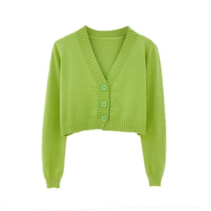 Cardigan ladies Korean short sweater long-sleeved V-neck green blue knitted crop small fresh candy color 2020 new