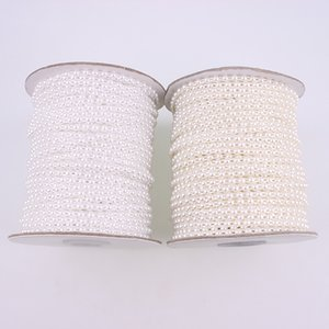 3mm 50 Meters Roll Fishing Line Artificial Ivory White Half Round Flatback Pearl Beads Chain DIY Garland Wedding Decoration Y200918