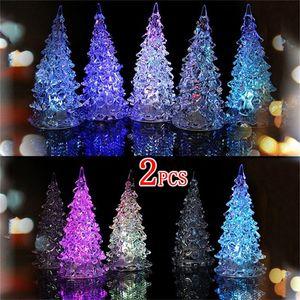 Partido de mesa LED árvore de Natal Crystal Light Lamp Ornaments Decoração de Natal Moda de estilo