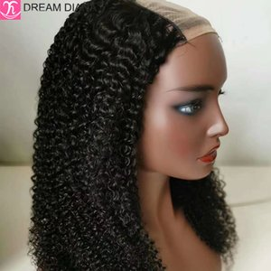 "DreamDiana Brazilian Hair Wigs U Part Wig Kinky Curly 100% Remy U Part Wig Human Hair For Black Women 10-32"" Long Lace"