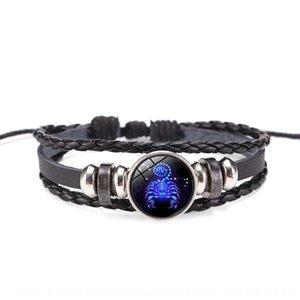 tBkw1 Acessórios doze constelações casal Acessórios pulseira de couro estilo coreano corda de couro presente do estudante tecido pulseira