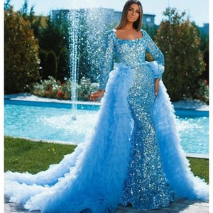 Shiny Blue Sequined Prom Dress With Detachable Train Full Sleeves Tiered Tulle Train robe de soiree Overskirts Mermaid Evening Dress