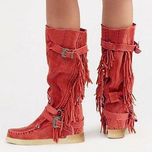 Vogue Autunno Inverno Stivali Donne Tassel Stivali Donna Donne Altezza Aumento scarpe tacco basso metà polpaccio scivolare su Alta Nizza