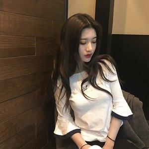 Umxh6 Auzhm Summer Sleeve Nuovo stile coreano Tromba 2020 T-shirt a maniche corte ricamata T-shirt Headdress Horn Copricapo T-shirt femminile Studente Top