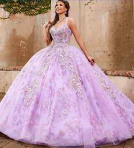 Luxury Purple Princess Quinceanera Dresses Lace Embroidery Sequins Ball Gown Vestidos De Quinceañera Plunging Neck Sweet 16 Dress