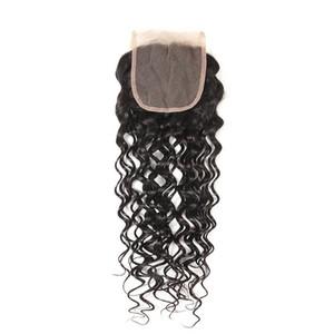 Greatremy® Cheap malaisienne Virgin cheveux gratuite Partie dentelle fermeture Pièces 4x4 Vague Blanchi Nœuds cheveux humains avant de dentelle de fermeture Big Curly