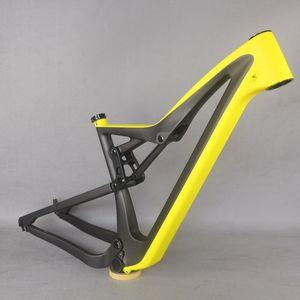 2021 새로운 풀 서스펜션 프레임 모든 산악 자전거 AM 탄소 섬유 프레임 MTB 디스크 브레이크 27.5 / 29er Boosts 자전거 옐로우 + 블랙 FM10