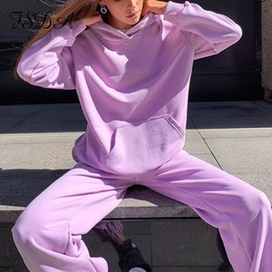 FSDA Two Piece Set Green Long Sleeve Hoodies Top And Pant Joggers Women Set Casual 2020 Autumn Winter Sport Outfits Oversized T200916