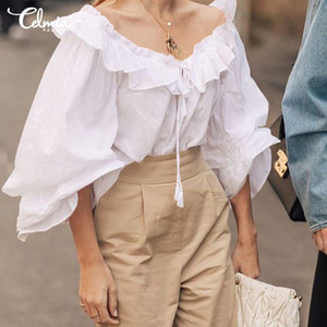 Celmia Women's Blouse Fashion Tops 2020 Spring Long Sleeve Bandage Ruffles Shirts Casual Loose Party Blusas Femininas Plus Size