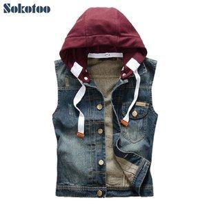 Sokotoo Men's casual detachable hooded denim vest Male slim vintage dark blue coat Tank top Hoodies T200910