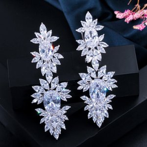 CWWZircons Luxurious Clear Cubic Zircon Stone Setting Long Wedding Drop Dangle Earrings with Marquise Shape Zirconia CZ322 200923