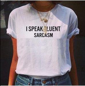 lwkN9 New I Speak femmes sarcasme couramment T-shirt imprimé T-shirt col rond lettre manches courtes