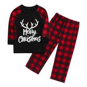 2PCS تتسابق عيد الميلاد للأطفال الأطفال طباعة القمم بلوزة وبنطلون عيد الميلاد الأسرة الملابس منامة ملابس الشتاء لطيف للبنات الطفل