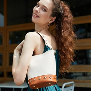 Fashion design handbag new simple and versatile high quality high quality leather casual messenger bucket bag free shipping