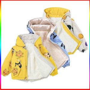 Kız İlkbahar Sonbahar Çocuk Kapşonlu Sıcak WINDBREAKER Ceket 12M-7T Çocuklar Açık Polar Çocuk Ceket