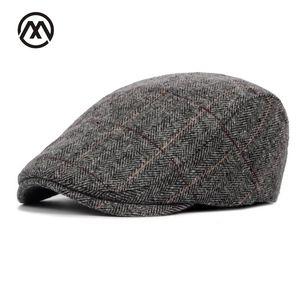 2020 New Autumn Winter Beret Cap Unisex Mens Hat Cotton Striped Beret England British Retro Men Women Woolen Flat Cap Boina Hat