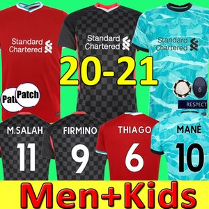 THIAGO LVP Mohamed M. SALAH FIRMINO camisa de futebol camisa de futebol 20 21 VIRGIL MANE KEITA MILNER liverpool 2020 2021 Homens Crianças kit uniformes