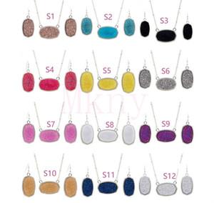 Овальный Стиль смолы Drusy Druzy Серебряное ожерелье Earings роскошь дизайнер комплект ювелирных изделий для женщин Свадьба партии подарков Рождество