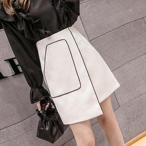qwzkf xaotq 드레스 봄 화이트 패션 A- 불규칙한 여성의 봄과 여름 2020 새로운 높은 A- LINE skirt- A 라인 허리 스커트