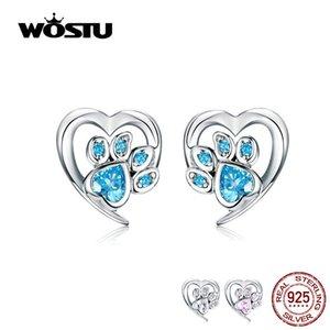 WOSTU Dog Footprint Heart Earrings 100% 925 Sterling Silver Blue Zircon Earrings For Women Wedding Luxury Jewelry CQE654