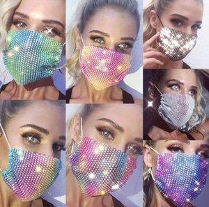 DHL Fashion Colorful Mesh Masks Bling Diamond Party Mask Rhinestone Grid Net Mask Washable Sexy Hollow Mask for Women