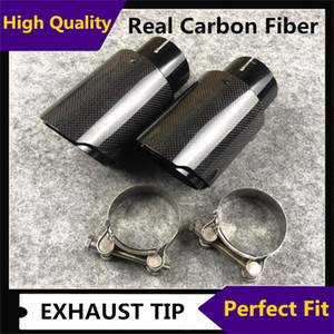 1pcs Glossy Black Stainless Steel Exhaust Muffler Tips Auto Glossy Carbon Fiber Car Single Exhaust System Pipe