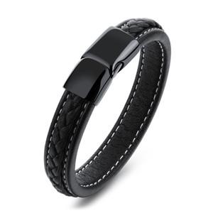 Hombres Negro de cuero genuino pulsera trenzada hebilla del acero inoxidable hecha a mano pulsera de la pulsera de los hombres de joyería B363 regalo